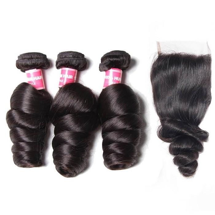 Kriyya 3 Pcs Loose Wave With 4*4 Lace Closure Peruvian 100 Human Hair