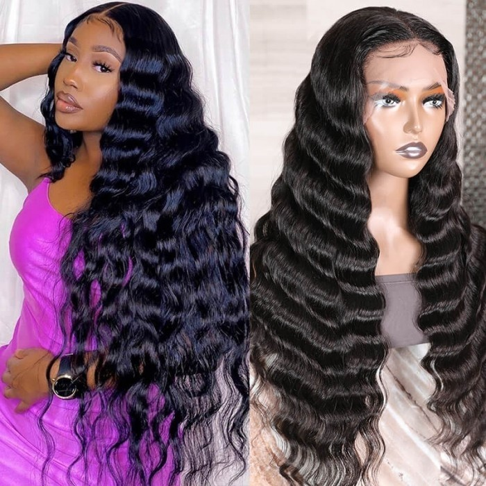 Kriyya Loose Deep Wave Wigs Pre Plucked 13X4 Lace Front Human Hair Wigs T Part Wigs With Baby Hair