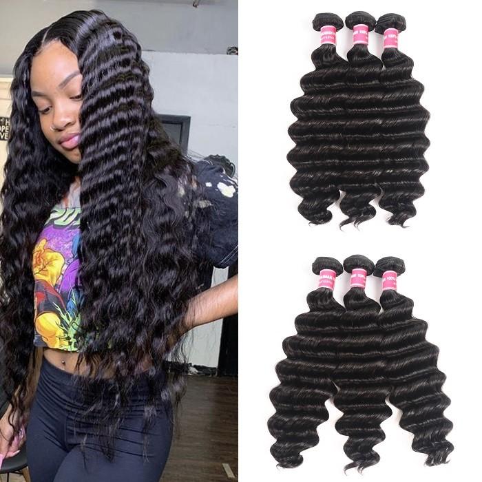 Kriyya Loose Deep Wave Peruvian Best Human Hair Weave 3 Bundles