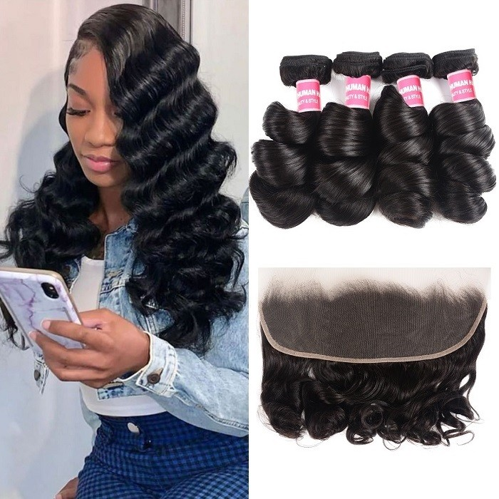 Kriyya Loose Wave 13x4 Lace Frontal Sew In With 4 Bundles Brazilian Human Hair