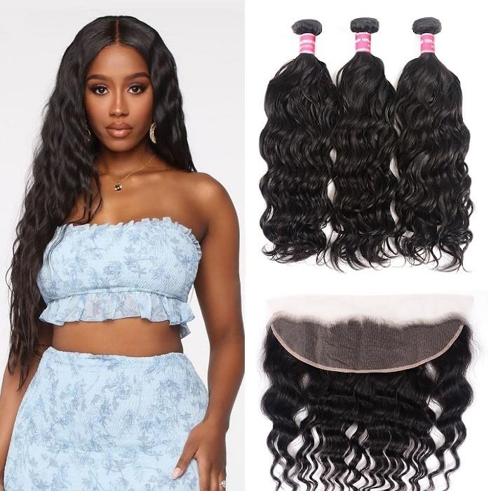 Kriyya Hair Natural Wave Virgin Hair 3 Bundles With Lace Frontal 13*4 Inch