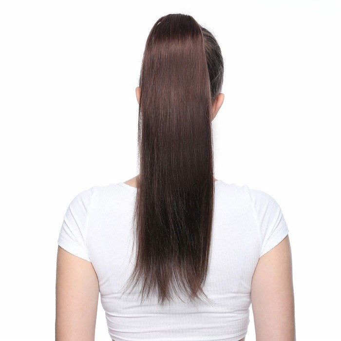 Kriyya 18 Inch Clip In High Ponytail Extensions Dark Brown