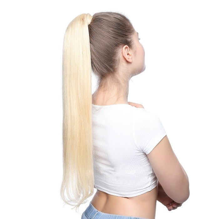 Kriyya 24 Inch Wrap Ponytail Extension Hair Extensions 100g Blonde Hair