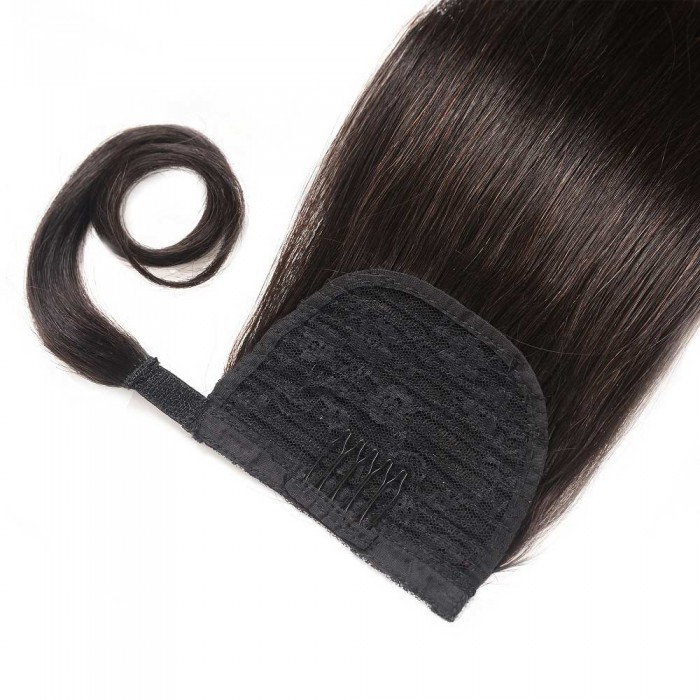 Kriyya 24 Inch Remy Human Hair Extensions Wrap Ponytail Natural Black
