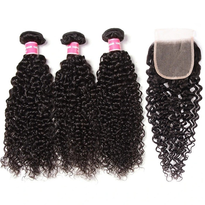 Kriyya Jerry Curly Virgin Hair 3 Bundles With 4*4 Transparent Lace Closure Peruvian Hair