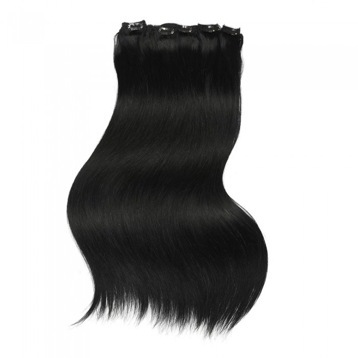Kriyya 120g Clip In Hair Pieces Hair Extensions Jet Black Remy Hair