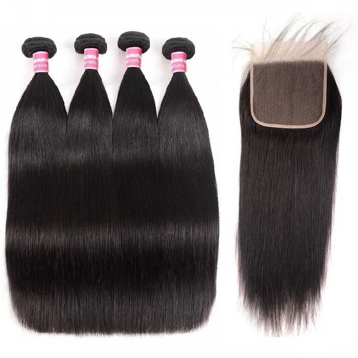 Kriyya Pre Plucked Brazilian Human Hair 6x6 Lace Closure With 4 Bundles Deals Straight Hair