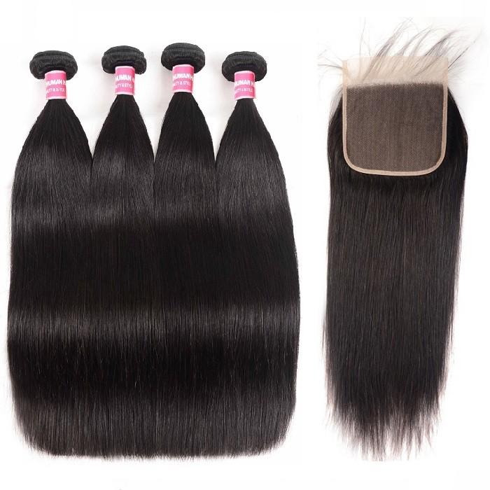 Kriyya Peruvian 4 Bundles Sew In With Closure 6x6 Free Part Straight Human Hair