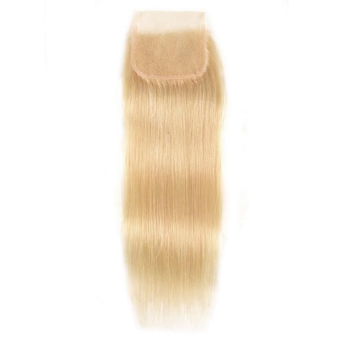 Kriyya 613 Blonde Straight 4X4 Lace Closure Natural Hairline 100% Human Hair