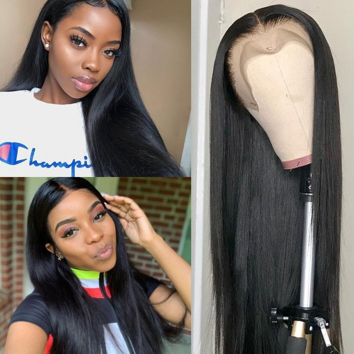 Kriyya 100% Hand tied Straight Lace Front Wig 150% Density Pre Plucked Hairline