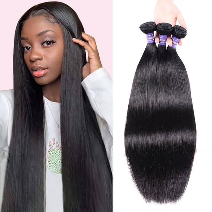 Kriyya Unprocessed Virgin Hair Straight Hair Weave 3 Piece