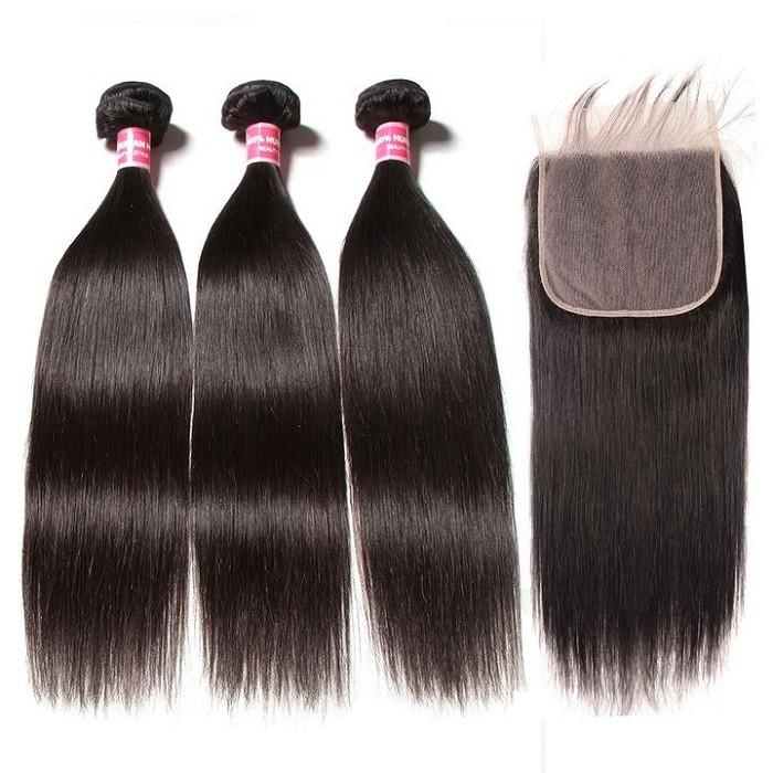 Kriyya New Straight Virgin Hair 3 Bundles With 7*7 Lace Closure Brazilian Hair