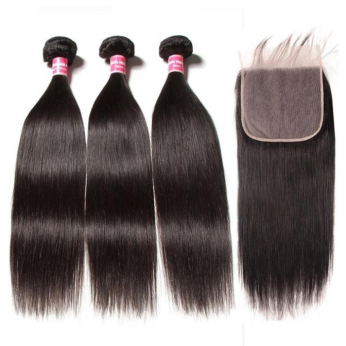 Kriyya Straight 100% Virgin Hair Peruvian 3 Bundles With 7*7 Lace Closure