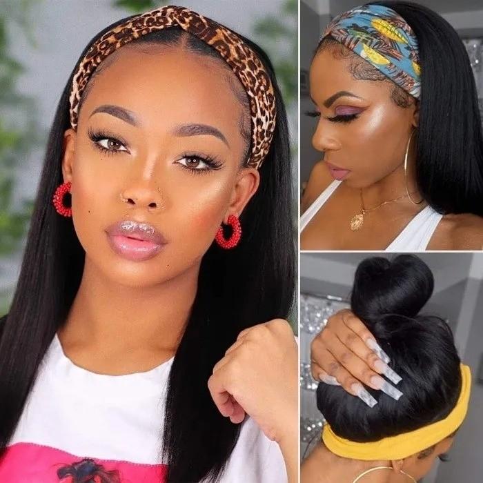 Kriyya Human Hair Headband Wigs Straight Glueless Wigs 150% Density