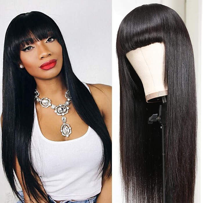 Kriyya Neat Bangs Natural Black Capless Wig Straight Human Hair Wigs With Bangs 150% Density Remy Hair Wigs