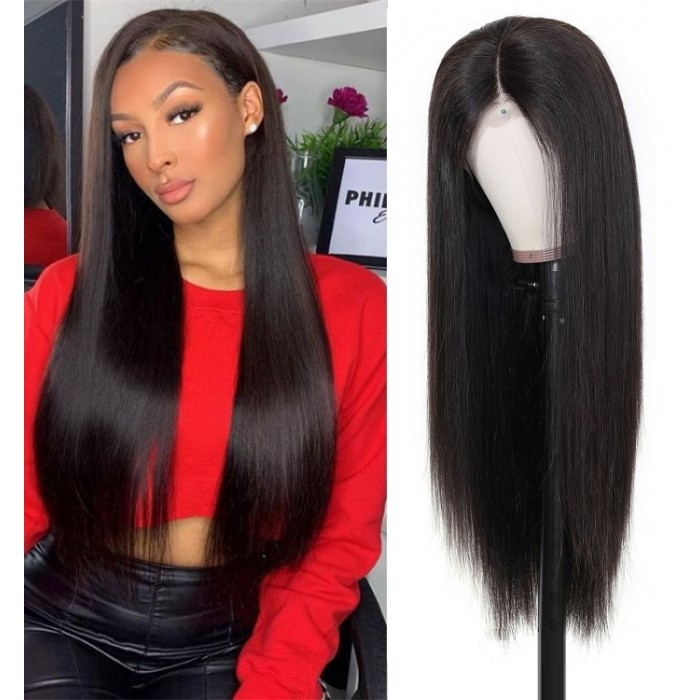 Kriyya 13x4 Straight Lace Front Wigs Pre-Plucked Human Hair Wig 150% Density