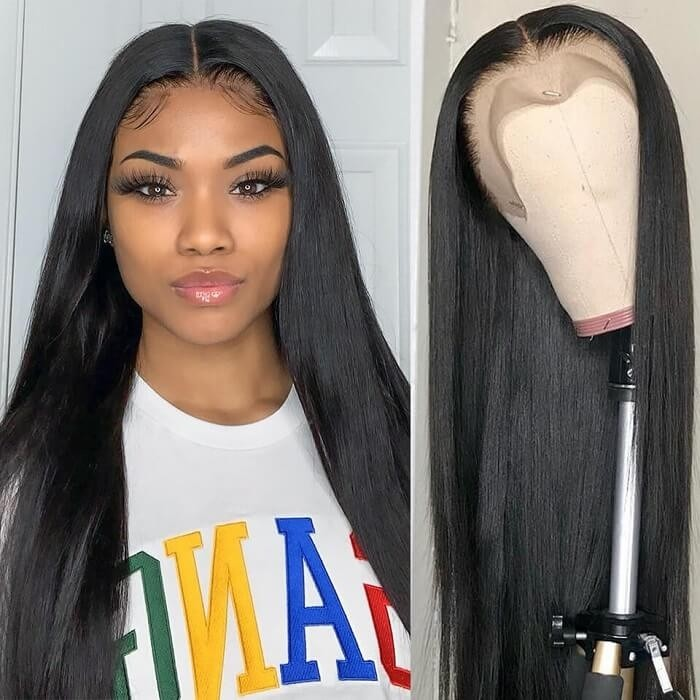 Kriyya 100% Human Hair 13x6 Lace Front Wigs With Baby hair Straight Wave Pre-Plucked