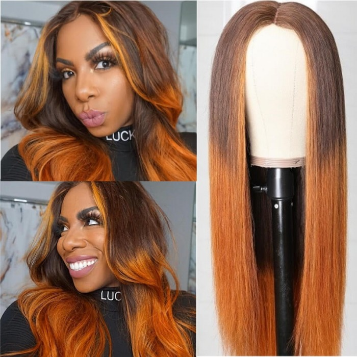 Kriyya Straight Middle Part Lace Closure Wig TL430 Copper Red Ombre Virgin Human Hair 150% Density
