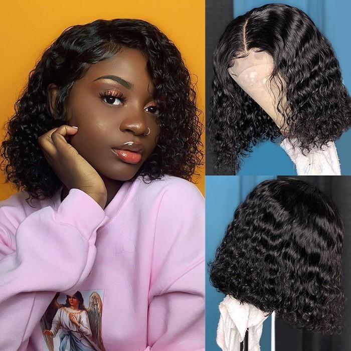 Kriyya Water Wave Human Hair Bob Wig 13x4 Short Lace Front Wigs