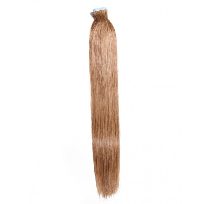 Kriyya Real Hair Tape In Extensions Light Golden Brown Remy Human Hair