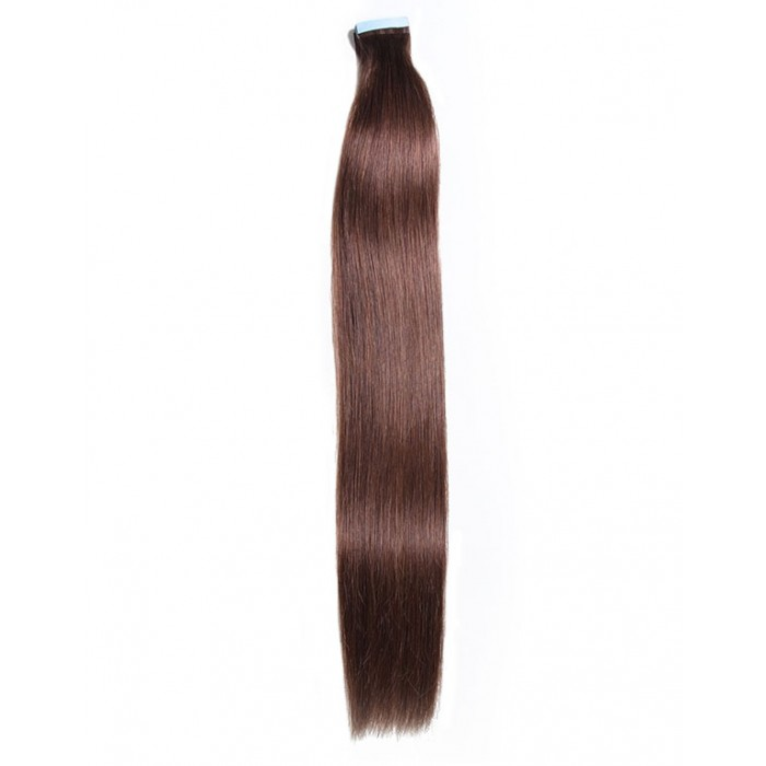 Kriyya Invisi Tape Hair Extensions Chocolate Brown Remy Hair 18-24 Inch Tape Ins