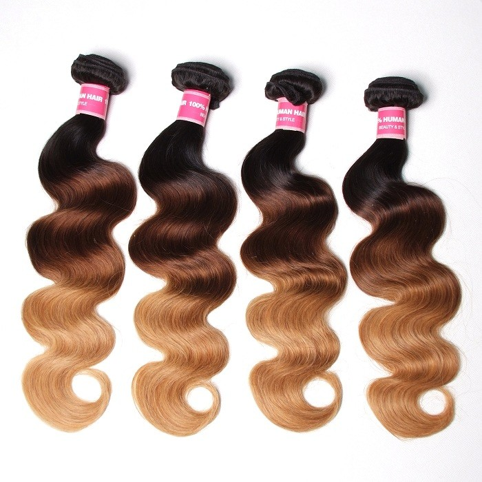 Kriyya 4 Pcs Brazilian Body Wave Human Hair Weave Three Tone Ombre Virgin Hair
