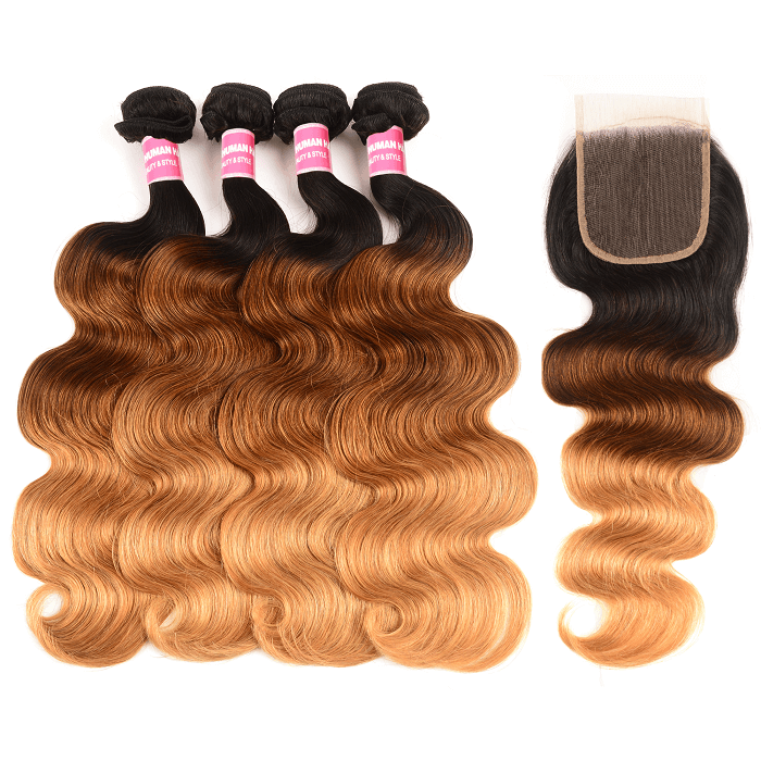 Kriyya Body Wave Three Tone Ombre 4 Bundles Natural Hair Weave With 4x4 Lace Closure Malaysian Hair