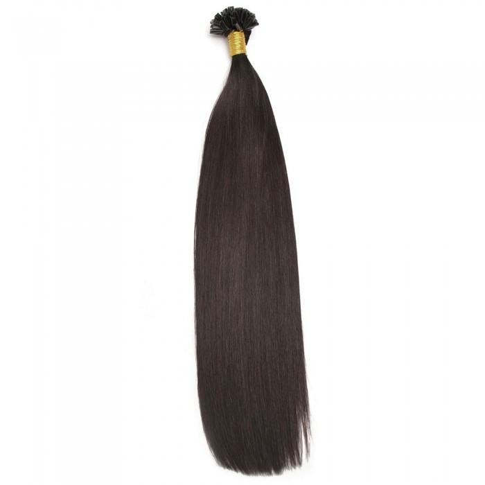 Kriyya Professional U-Tip Hair Extensions Nail Tip Hair-Off Black