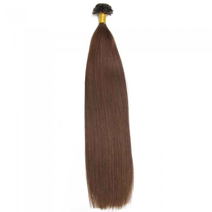 Kriyya Professional U-Tip Hair Extensions Nail Tip Hair-Chocolate Brown
