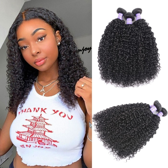 Kriyya Jerry Curly 3 Bundles Peruvian Unprocessed Human Hair Weave