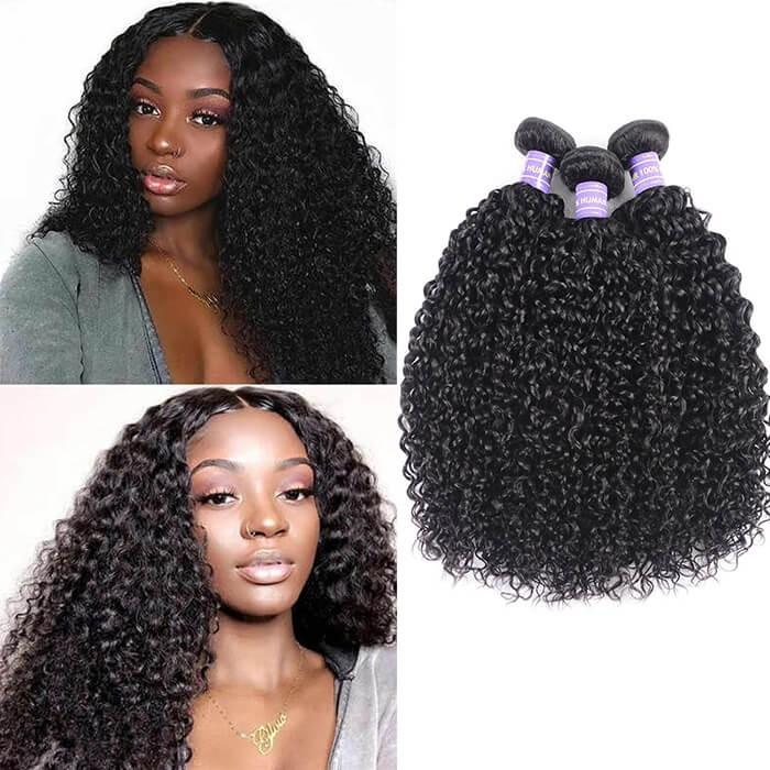 Kriyya Jerry Curly 3 Bundles Peruvian Unprocessed 7A Human Hair Weave