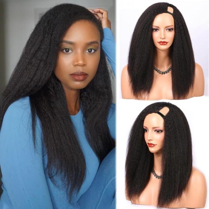 Kriyya Kinky Straight U Part Wig 150 Density Virgin Human hair Wigs Natural Color