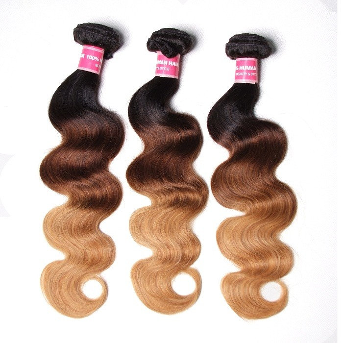 Kriyya Body Wave Bundles T1B/4/27 Ombre Hair Color Indian Human Hair 3 Pcs