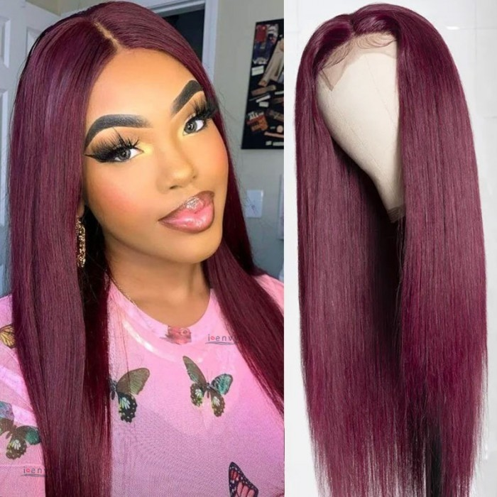 Kriyya 100% Virgin Human Hair 99J Dark Red Straight Lace Part Wigs 150% Density Middle Part Wig