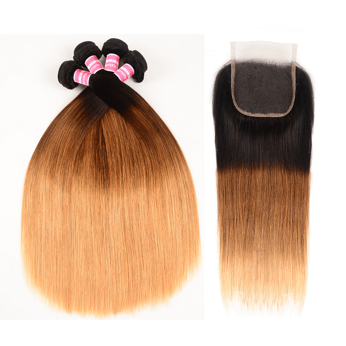 Kriyya Straight Virgin Hair T1B/4/27 Ombre 4 Bundles With 4x4 Lace Closure Peruvian Hair