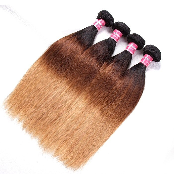 Kriyya T1B/4/27 Ombre Brazilian Hair 4 Bundles Straight Human Hair Weave