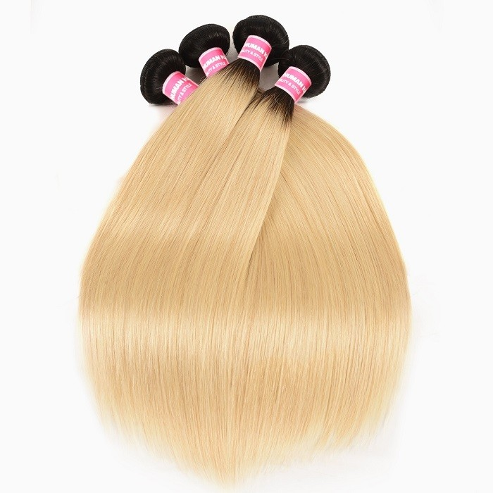 Kriyya Straight Hair 4 Bundles T1B/613 Color Ombre Indian Human Hair Weave