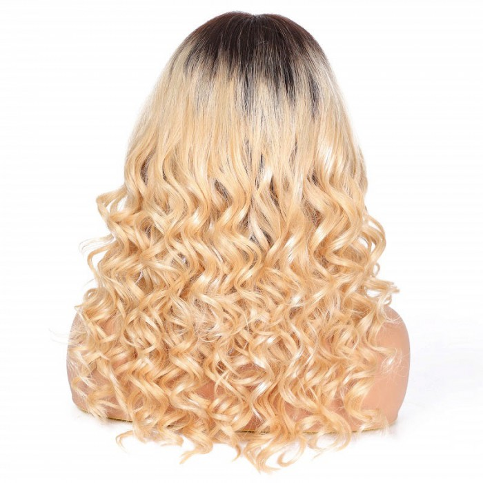 Cathy | Dark Rooted Curly 13*4 Lace Front Remy Human Hair Wig
