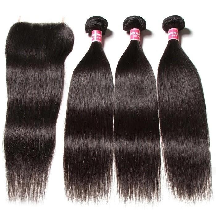 Kriyya 3 Pcs Straight Virgin Human Hair With 6*6 Lace Closure Malaysian Hair