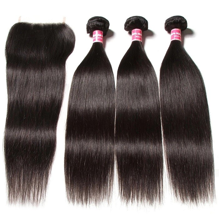 Kriyya Peruvian 3 Pcs Straight Virgin Human Hair With 6*6 Lace Closure