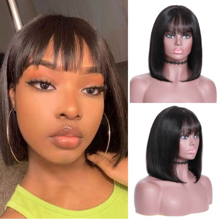 Kriyya Short Straight Wigs 13x4 Lace Front Human Hair Blunt Cut Bob Wig With Bangs 130% Density