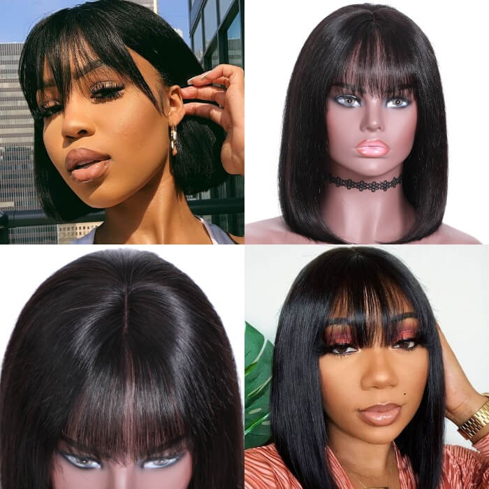 Kriyya Blunt Cut Straight Bob Human Hair Wigs 13x4 Lace Front Wigs With Bangs Thick 180% Density