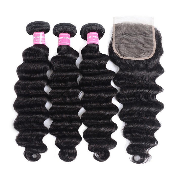 Kriyya Indian Human Hair Loose Deep Wave 3 Bundles With Lace Closure 4*4 Inch