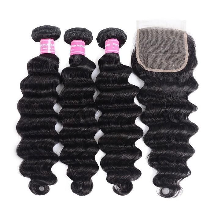 Kriyya Loose Deep Wave 100% Virgin Human Hair 3 Bundles With Lace Closure 4 X 4 Inch