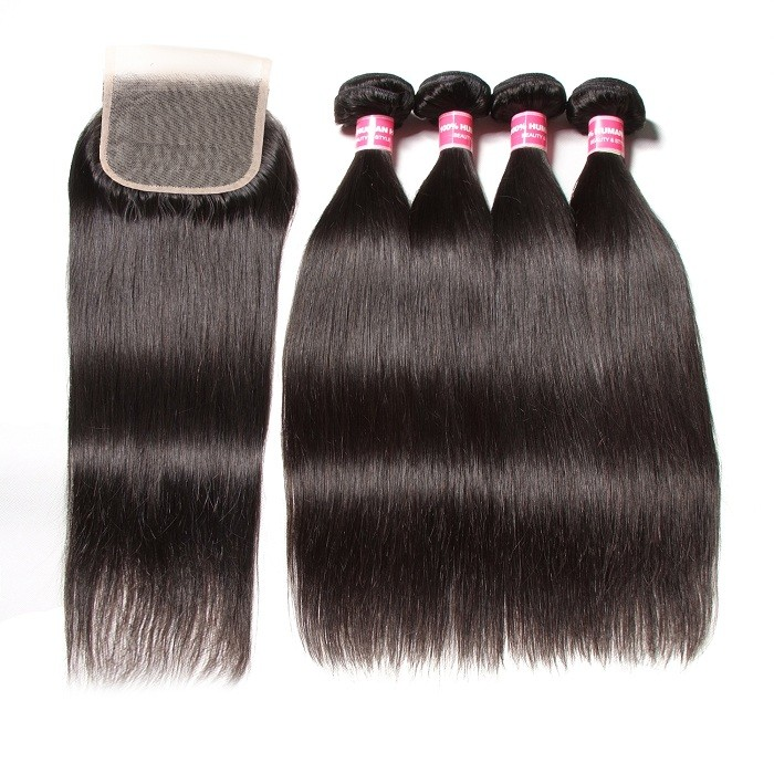 Kriyya 4x4 Brazilian Transparent Lace Closure With Straight Human Hair 4 Bundles Deals