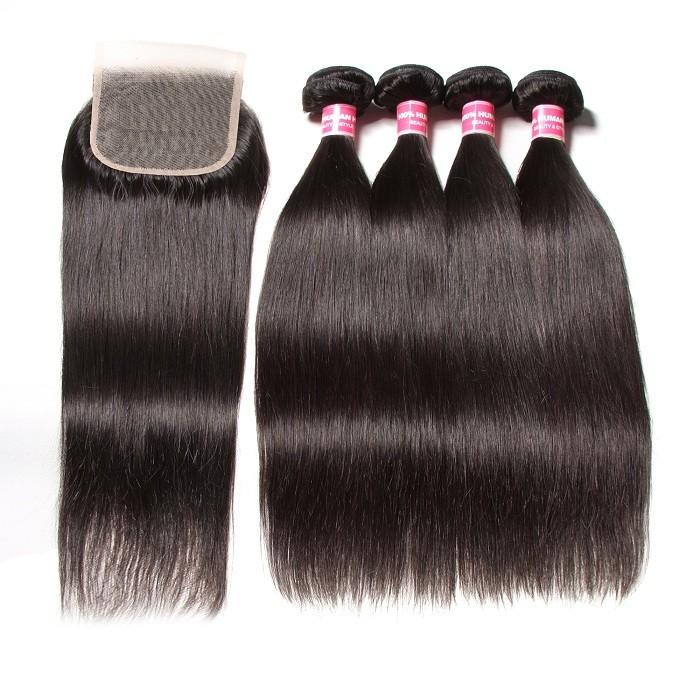 Kriyya Best Indian 4 Bundles Straight Hair With Closure 4x4 Transparent Lace
