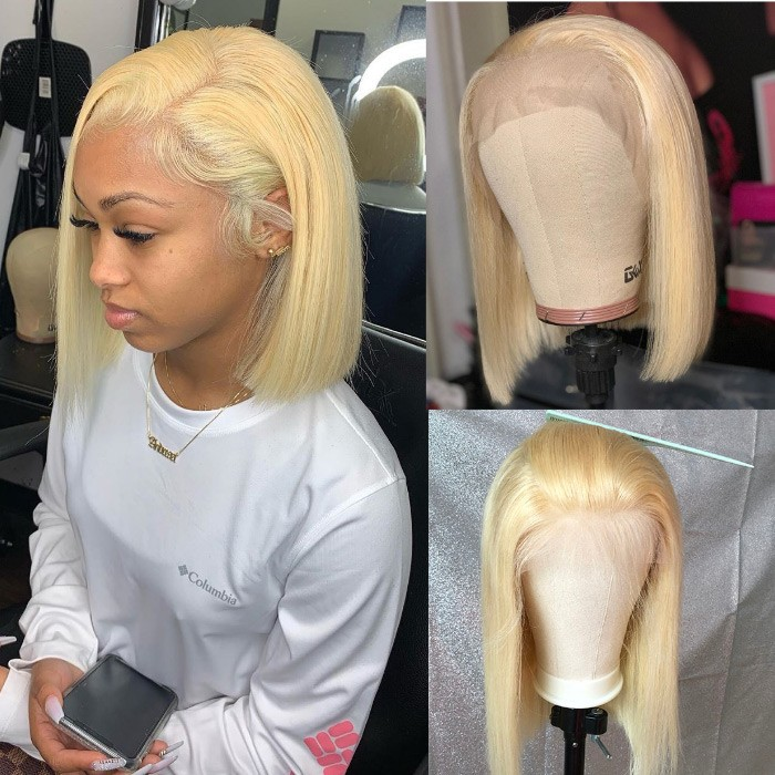 Kriyya Short Blonde Bob Lace Front Wig 613 Straight Human Hair Wigs For Sale Kriyya Com
