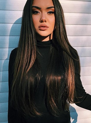 Beauty With Dark Brown Clip In Hair Extensions