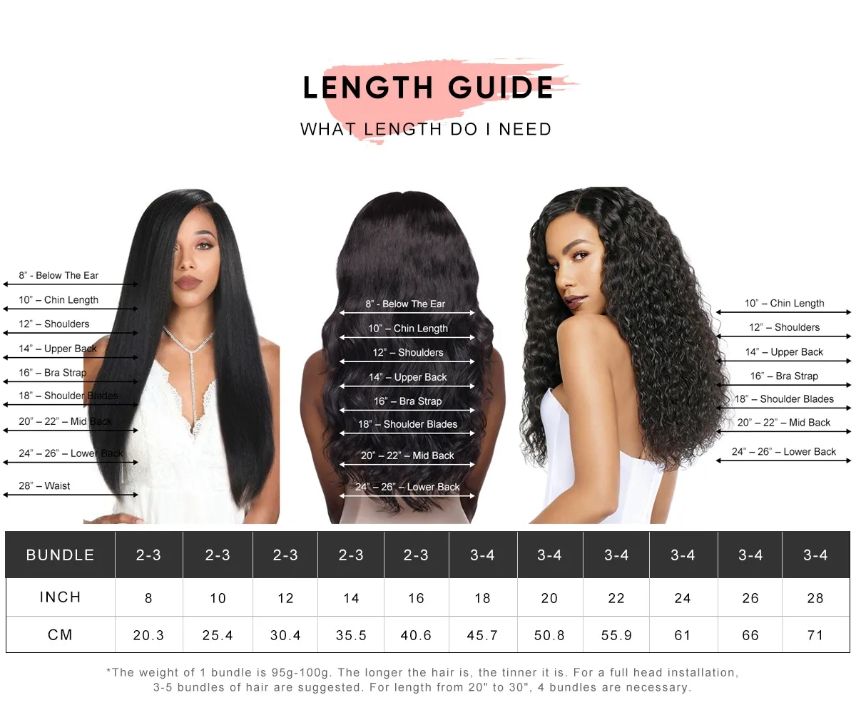 straight 4 bundles with closure 4*4 inch