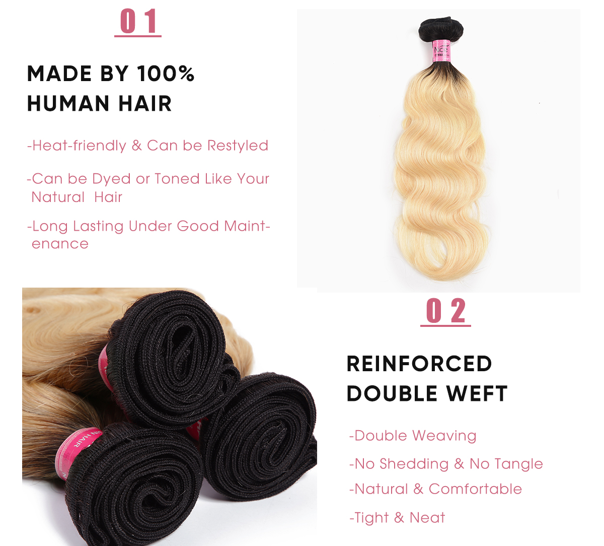 4 Bundles Body Wave 1B/613 Ombre 100 Human Hair Weave